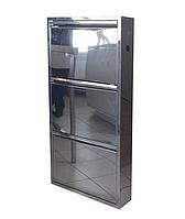 Тумба для обуви из нержавеющей стали ТХОНж-3, металлический шкаф для обуви в прихожую, офис