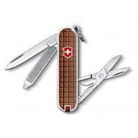 Нож раскладной Victorinox Сlassic-SD «Chocolate» Швейцарский нож на 5 функций коричневого цвета
