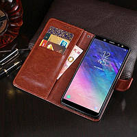 Чехол Idewei для Samsung Galaxy A6 Plus 2018 / A605 книжка кожа PU коричневый