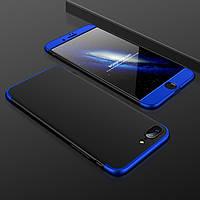 Чехол GKK 360 для Iphone 7 / Iphone 8 Бампер оригинальный без вырезa black+blue