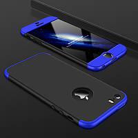 Чехол GKK 360 для Iphone 7 / Iphone 8 Бампер оригинальный с вырезом black+blue