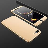 Чехол GKK 360 для Iphone 7 Plus / 8 Plus Бампер оригинальный без выреза Gold