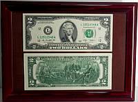 Подарочное панно с 2 $ банкнотой (настоящей)