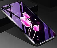 Чехол Glass-case для Iphone 7 / 8 бампер накладка Flowers