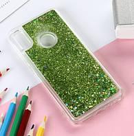 Чехол Glitter для Huawei P Smart Plus Бампер Жидкий блеск Зеленый