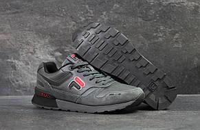 Модные мужские кожаные кроссовки Fila,серые, фото 3