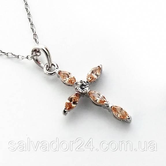 Женский кулон подвеска крест на цепочке 44 + 5 см белая позолота с фианитами