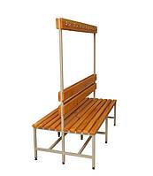2СВ-1500 Металлическая скамейка  двухсторонняя, спинка и вешалка с крючками