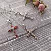 Женский кулон подвеска крест на цепочке 44 + 5 см белая позолота с фианитами, фото 5