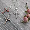 Женский кулон подвеска крест на цепочке 44 + 5 см белая позолота с фианитами, фото 6