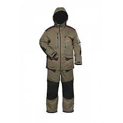 Зимний костюм мужской Norfin Discovery для рыбалки и охоты черно оливкового цвета