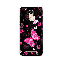 Чехол Print для Xiaomi Redmi Note 3 Pro SE / Note 3 Pro Special Edison 152 силиконовый бампер Butterflies Pink