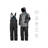 Зимний костюм мужской Norfin Apex Flt для рыбалки и охоты черно серого цвета