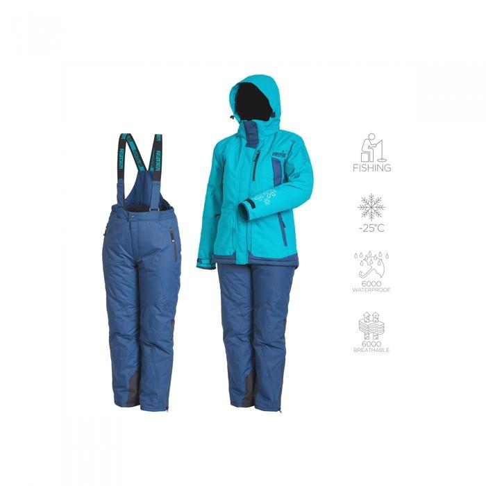 Зимний костюм женский Norfin Women Snowflake 2 для рыбалки и охоты голубого цвета