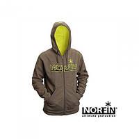 Куртка флисовая мужская Norfin Hoody Green для рыбалки и охоты зеленого цвета