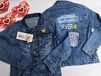 Куртка джинсовая со Смайликом , 3-7 лет, джинсовый варёнка