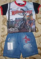 """Костюм футболка+шорты джинс для мальчика """"мотоцикл"""" синий рост 86-104"""