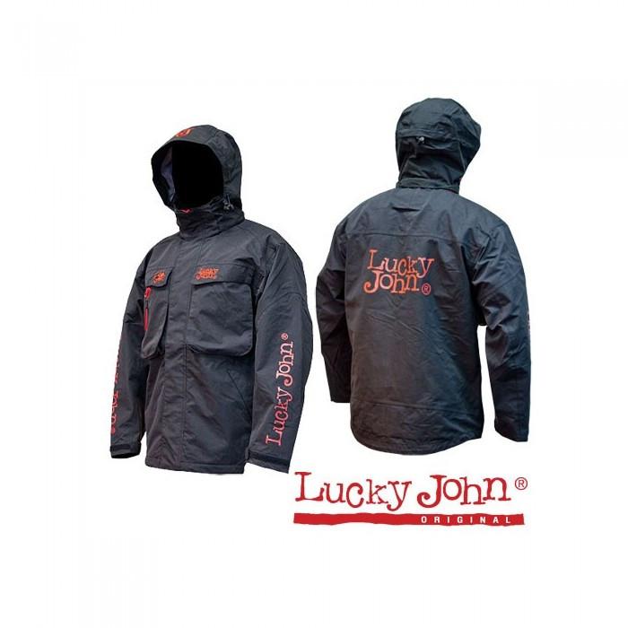 Куртка мембранная Lucky John S для рыбалки и охоты черного цвета