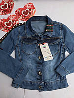 Куртка джинсовая с Лентой и жемчугом , 3-7 лет, джинсовый варёнка