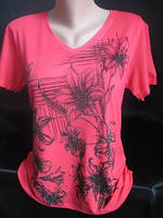 Женские футболки с цветами и стразами., фото 1