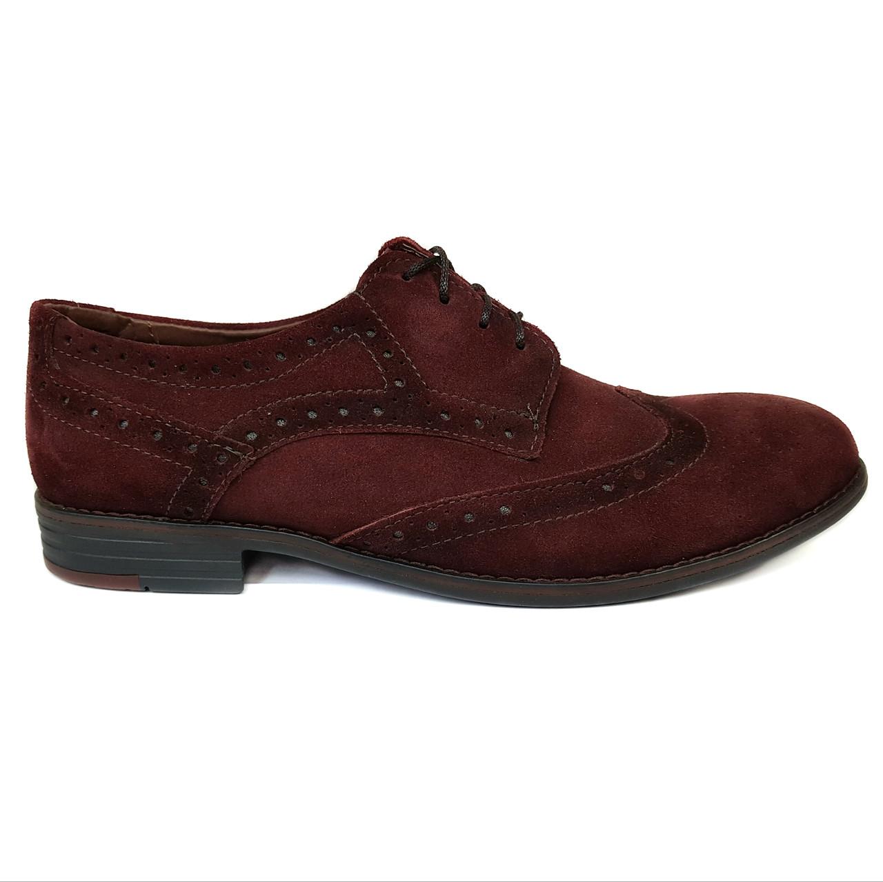 Мужские замшевые туфли оксфорды Dan Shoes бордовые