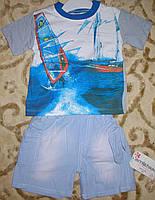 """Костюм футболка+шорты коттон для мальчика """"парус"""" серый рост 86-104"""