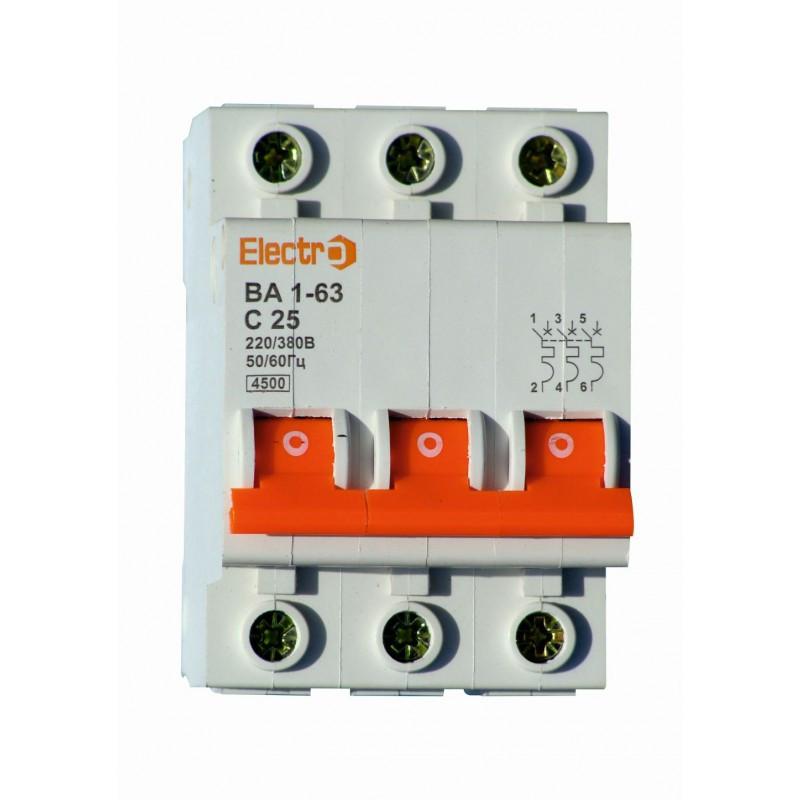 Автоматический выключатель 3 полюсный 1 Ампер ВА1-63 4,5kA