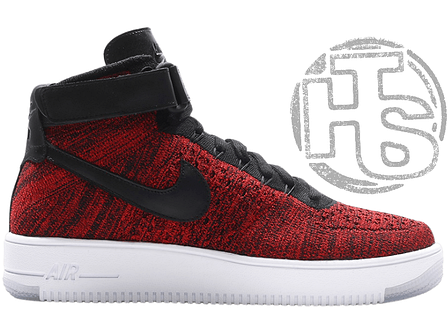 f2074303 Женские кроссовки Nike Air Force 1 Ultra Flyknit Mid Red/Black/White 817420-