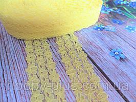 """Кружево """"Цветочная дорожка"""", 2,5 см, цвет желтый"""