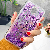 Чехол Glitter для Samsung Galaxy J5 2017 / J530 Бампер Жидкий блеск фиолетовый, фото 1