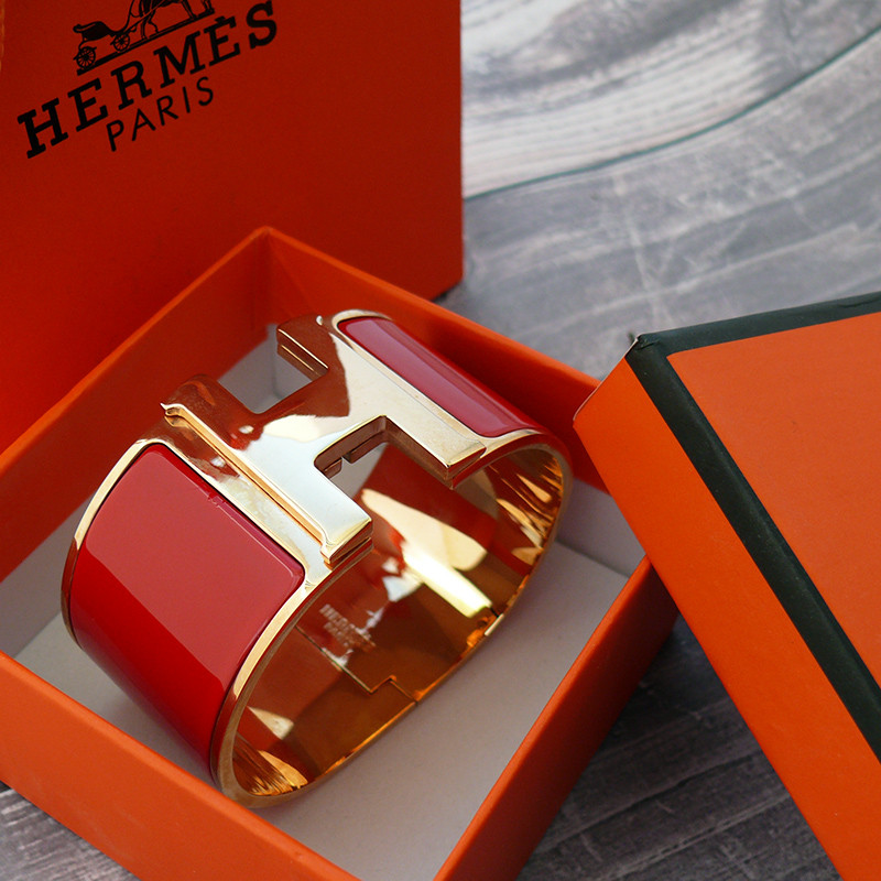 Широкий браслет Hermes (реплика) розовое золото, эмаль