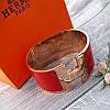 Широкий браслет Hermes (реплика) розовое золото, эмаль, фото 6