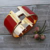 Широкий браслет Hermes (реплика) розовое золото, эмаль, фото 5