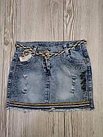 Модная джинсовая юбка для девочек от 5 до 8 лет.