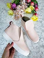 Пудровые ботинки женские слипоны лаковая кожа 32-41 размер, хорошая обувь женская от производителя весна 2019