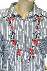 Плаття-сорочка в полоску з вишивкою, фото 3