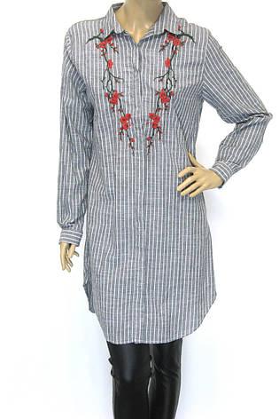 Плаття-сорочка в полоску з вишивкою, фото 2