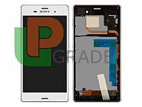 Дисплей для Sony D6633 Xperia Z3 Dual Sim + тачскрин, белый, с передней панелью, оригинал (Китай)