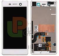Дисплей для Sony E5603 Xperia M5 Dual Sim/E5606/E5633 + тачскрин, белый, с передней панелью, оригинал (Китай)