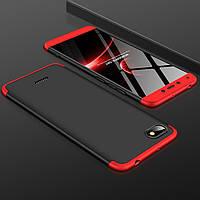 Чехол GKK 360 для Xiaomi Redmi 6A бампер оригинальный Black-Red, фото 1