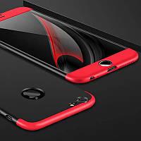Чехол GKK 360 для Iphone 7 / Iphone 8 Бампер оригинальный с вырезом black+red
