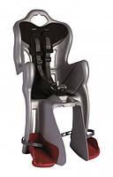 Сиденье заднее  BELLELLI B1 clamp детское  до 22кг (серебро с чёрным) крепится на багажник