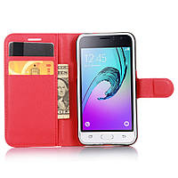 Чехол IETP для Samsung Galaxy J1 2016 J120 J120H книжка кожа PU красный