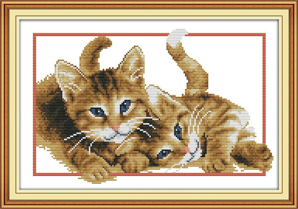 Два котенка D835/3 Набор для вышивания крестиком с печатью на ткани 14ст