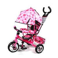 Велосипед детский с ручкой Turbo Trike М 5361-8-1 надувные колеса розовый 2015