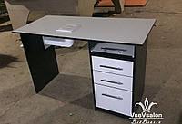 Маникюрный стол с вытяжкой 16Вт и стильными рейлинговыми ручками. Модель V269 белый / черный, фото 1