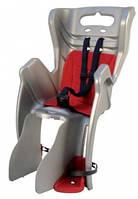 Сиденье заднее BELLELLI Little Duck Clamp  детское до 22кг (серый с красным) крепится на багажник