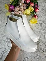 Белые ботиночки слипоны демисезонные подростковые для девочек размер с 32 по 41