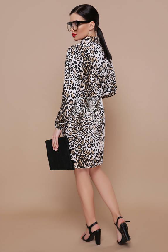 Леопардовое платье рубашка с поясом, фото 2