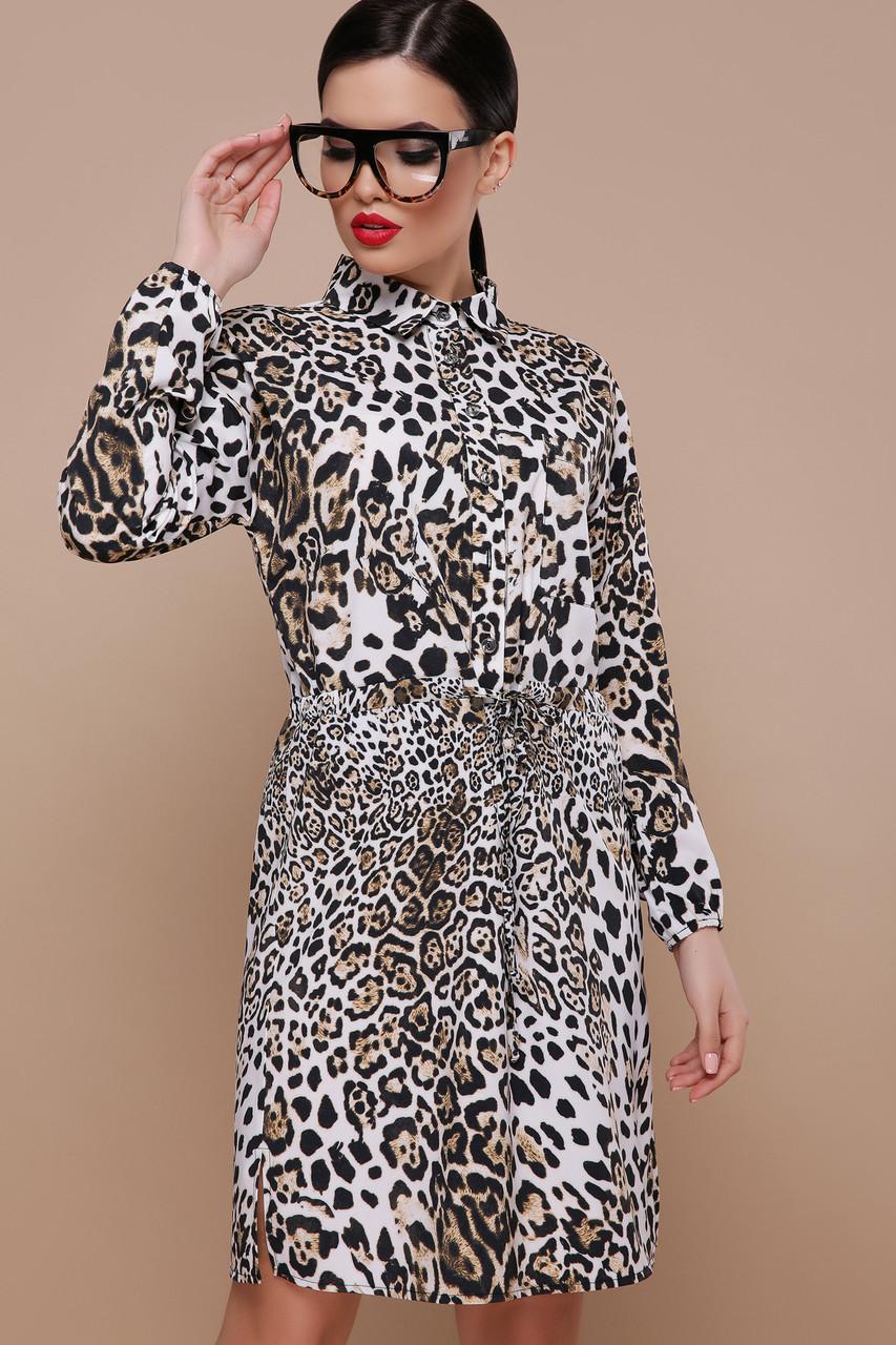 Леопардовое платье рубашка с поясом